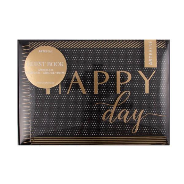 """Gästebuch """"Happy Day"""" Schwarz / Gold"""