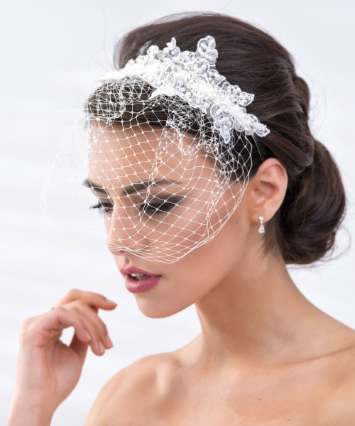 Zara Haarband mit Netz, Spitze und Perlen