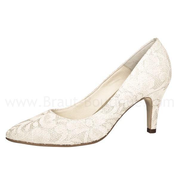 Brautschuh Mahira perle mit glänzender Spitze
