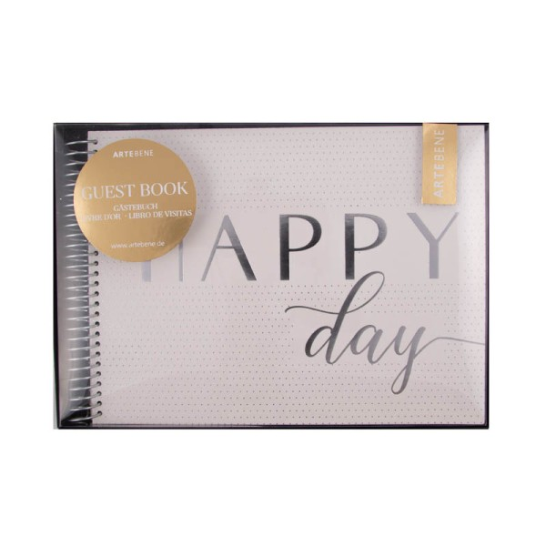 "Gästebuch "" Happy Day"" Weiss/Gold"