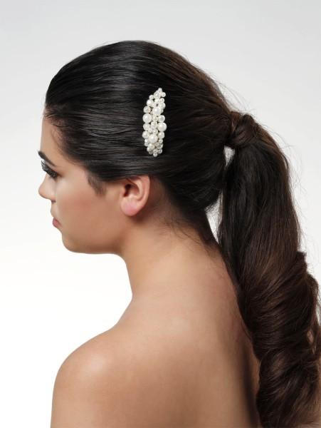 Halbmondförmiger Haarkamm mit Süsswasserperlen