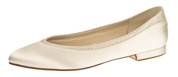 Stevie flacher Satinschuh für die Braut mit Glitterbesatz - Ballerina aus der Rainbow Club Kollektion -