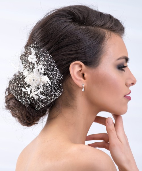 Fascinator zur Hochzeit - Braut Fascinator mit Netz im Vintage Style