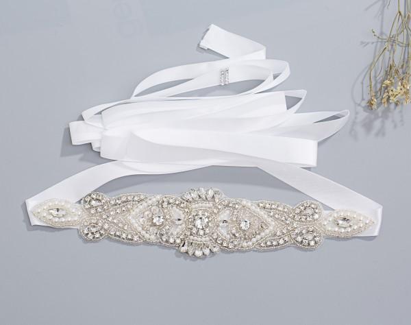 Brautgürtel aus Satin - Taillenband mit schmuck fürs Hochzeitskleid - Guertel F009