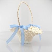 Streukörbchen creme/weiß  mit blauen Schleifen