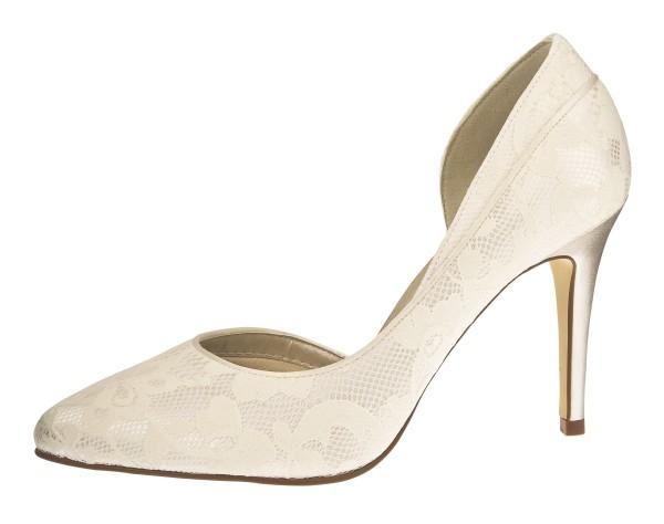 Jessica Pumps-Brautschuh aus Satin mit Spitzenüberzug