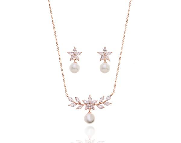 Brautschmuckset - Perlenkette und Ohrringe in Roségold - für die Braut